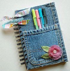 De regreso a clases: Libreta forrada en jean   Ideas para Decoracion