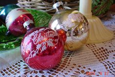 Vintage Glass Christmas Tree Ornaments by MellyMcBlueTreasures, $9.94