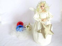 angel art cloth doll christmas tree topper gold star Xmas tree ornament Holiday decoration by ConchyGemDolls, $75.00 USD
