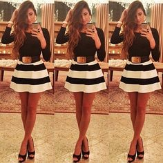 Fashion O Neck Long Sleeves Black-white Patchwork Stripes Print Mini Dress