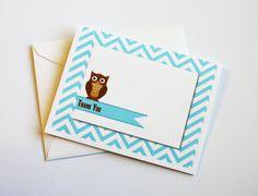 Owl Thank You Cards on Aqua Chevron by ByGraceDesignsStudio, $9.00