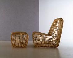 Standard fireside chair / contemporary / with footrest SUPERELASTICA by Marco Zanuso jr & Giuseppe Raboni Bonacina Vittorio