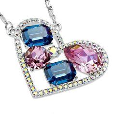 5ec6cc58f95a Dazzling Shades of Blue Multi-Stone IOBI Crystals Heart Pendant Necklace