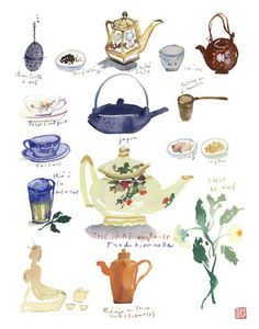 Tea art - Teapot and teacup poster - 8X10 print - Blue kitchen decor - Watercolor painting