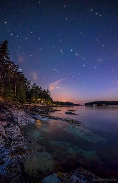 Starry, Starry Night at Galiano Island, British Columbia, Canada. Galiano Island is one of the Southern Gulf Islands between Vancouver Island and the Lower Mainland of British Columbia. British Columbia, Beautiful World, Beautiful Places, Amazing Places, Simply Beautiful, Places Around The World, Around The Worlds, Belle Photo, Cool Places To Visit