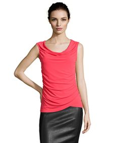 Tahari Red Stretch Knit 'noel' Cowl Neck Sleeveless Blouse