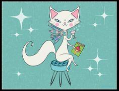 Cocktail Kitty 8.5 x 11 Art Print