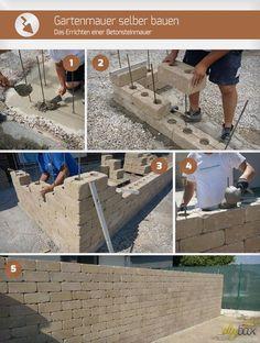 Building a garden wall yourself - Building a concrete stone wall Concrete Stone, Concrete Garden, Concrete Wall, Diy Garden Projects, Diy Garden Decor, Walled Garden, Most Beautiful Gardens, Garden Images, Garden Stones