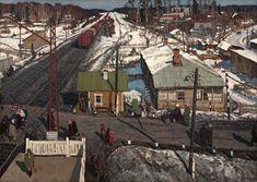 Виктор Чулович - «Тарасовка. Переезд», 1969 Soviet Art, Traditional Art, World, House Styles, Outdoor, Canvases, Postcards, Russia, Paintings