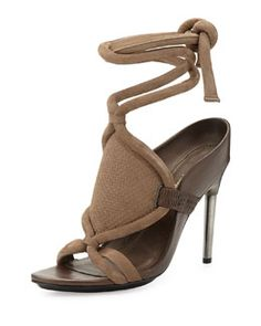 X2K5J 3.1 Phillip Lim Marquise Leather Ankle-Wrap Sandal, Clay/Wren