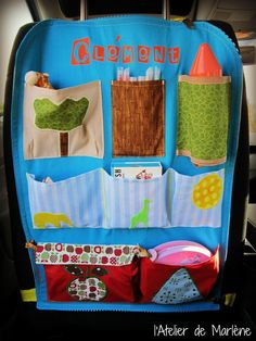 To organize the car . - Marlene Jewelry and Accessories creations Sewing Crafts, Sewing Projects, Projects To Try, Car Organization Kids, Sewing Machine Basics, Baby Dolls For Kids, Car Accessories Diy, Diy Car, Diy Pillows