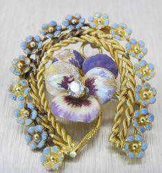 Vintage Art Nouveau 14K Enamel Brooch Pendant by TonettesTreasures