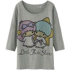 UNIQLO Women Sanrio 3/4 Sleeve Graphic T-Shirt ($5.90) ❤ liked on Polyvore featuring tops, t-shirts, shirts, heart shirt, three quarter sleeve t shirts, 3/4 sleeve shirts, 3/4 length sleeve shirts and graphic design t shirts