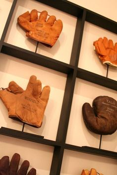 display idea for vintage baseball gloves