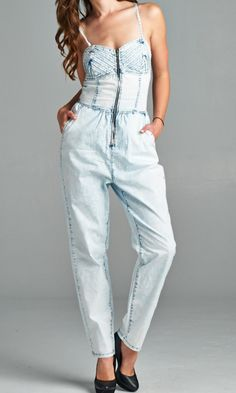 Bustier jumpsuit for your edgy style. #specialajeans #bustier #jumpsuit