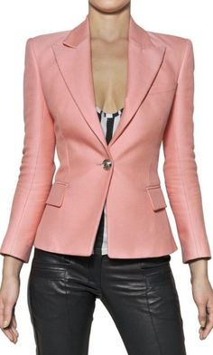 Balmain Pink Cotton and Silk Piqué Jacket Blazers, Suits For Women, Jackets For Women, Boho Fashion, Fashion Outfits, Costume, Blazer Outfits, Skirt Suit, Stylish Outfits