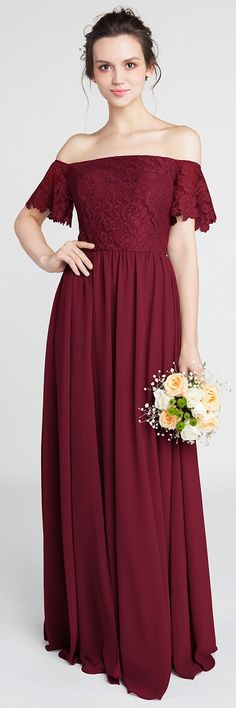 Gorgeous Lace Off-the-Shoulder Bridesmaid Gown with Chiffon Skirt #bridesmaiddresses #burgundy #bridesmaid #weddingtrends2018 #wedding #weddingcolors