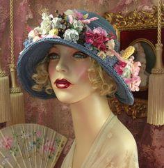 1920's Vintage Style Blue Floral Wreath Cloche Flapper Hat | eBay