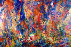 Vibrant piece with bold color blending, drips and big palette knife strokes. This painting conveys motion and energy as well as lots of light and fast changes in contrast. triple primed canvas and ...