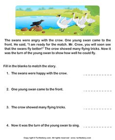 Reading Comprehension Crow and Swans Worksheet 2nd Grade Reading Worksheets, First Grade Reading Comprehension, Picture Comprehension, Kindergarten Reading Activities, 6th Grade Reading, Reading Comprehension Worksheets, Reading Fluency, Reading Skills, English Writing Skills