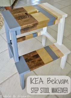 'Lil Striped Ikea Bekvam Stool - Table & Hearth