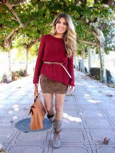 Blonde-Mery Outfit  casual trendy urbano shopping working  Otoño 2012. Combinar Cardigan Rojo Granate Zara, Vestido Marróno Pull