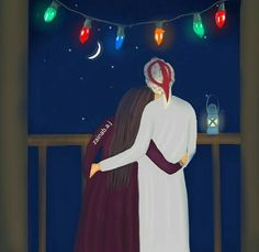 या अल्लाह ईद का चांद  मेरे चाँद के साथ  देखना नसीब कर। Anime Couples, Cute Couples, Sarra Art, Islam Marriage, Girly M, Islamic Cartoon, Romantic Pictures, Girly Pictures, Anime Muslim