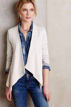 Striped Terry Cardigan - anthropologie.com