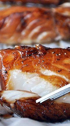 Baked Honey-Marinated Cod - use black cod or sable fish A succulent baked cod, marinated in honey, soy sauce and a combination of asian inspired flavors. Seafood Dishes, Fish And Seafood, Seafood Recipes, Cooking Recipes, Healthy Recipes, Honey Recipes, Seafood Platter, Recipes For Lent, Recipes For Fish