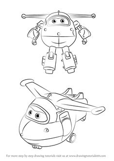 Learn How to Draw Jett from Super Wings (Super Wings) Step by Step : Drawing Tutorials
