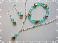 Lovely Handmade by New Horizon Treasures Necklace Bracelet Earrings Set Pendant Aquamarine Gold Pierced Fashion  $18.00