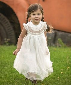 6d5e72eaa72e Just Couture White Tulle Smocked Magnolia Angel-Sleeve Dress - Toddler &  Girls