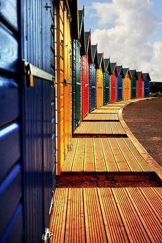 Shiny New Beach Huts at Dawlish, England