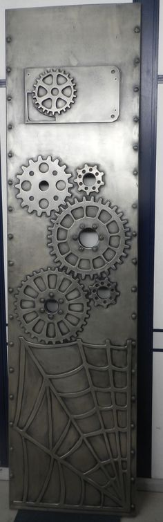 """Steam punk style, Decorative panel in steam punk style. Made from MDF and plywood with application of """"Liquid Metal"""" """"Platinum"""" Spray with 30% aged patina."""