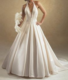 PLEASE HELP who is the designer and name of this dress? :  wedding backless bridal dress gown halter Backless Wedding Dresses4