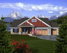 Craftsman   Ranch   House Plan 97320. This is seriously just like my dream home, the mountains in the back, some changes but overall it's perfect.
