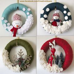 Couronnes de Noël laine et peluche – Crochet Christmas Crochet Christmas Decorations, Christmas Ornament Crafts, Christmas Crafts For Kids, Felt Christmas, Homemade Christmas, Xmas Decorations, Christmas Projects, Holiday Crafts, Christmas Wreaths