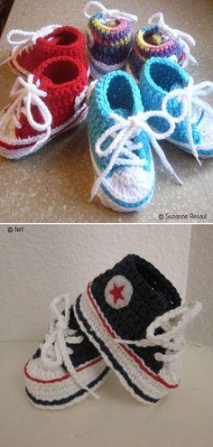 Baby ConverseFree Crochet Pattern    #crochetbooties #babybooties