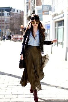 visual contrasting textures: soft, flowy skirt, hard leather jacket with a crisp button down shirt