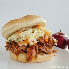 Slow Cooker Apple Barbeque Pulled Pork on MyRecipeMagic.com is so delicious.  Just let is cook all day! #slowcooker #pork