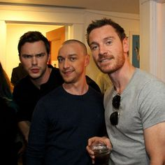 """Nicholas Hoult, James McAvoy and Michael Fassbender. Why is it that I picture some saying 'I think Charles looks better bold."""" Nicholas is like, """"what?!"""" James I like, """"what is the hell are you talking about. And Michael is like, """"I totally agree."""""""