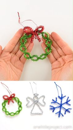 Easy Pipe Cleaner Wreath Ornaments These ea.- Easy Pipe Cleaner Wreath Ornaments These easy pipe cleaner wreath ornaments are so pretty and SO EASY. Make a homemade Christmas ornament in less than five minutes with only 3 pipe cleaners! Christmas Ornament Crafts, Xmas Crafts, Diy Christmas Gifts, Easy Ornaments, Angel Ornaments, Snowflake Ornaments, Wreath Crafts, Christmas Crafts For Kids To Make At School, Simple Christmas Crafts