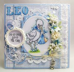 A Sprinkling of Glitter: Baby Leo - Addicted To Stamps DT Card baby's skin - E11, E00, E000, stork - N3, N1, N0, C00, R12, blues - B24, B21, B0000