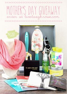 Enter to win the Mothers Day Giveaway at livelaughrowe $150 value