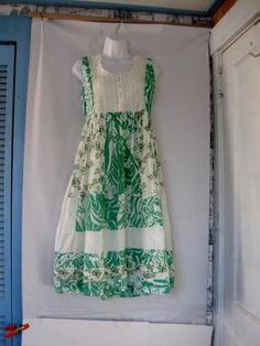 Vintage Adorable Green and White Sleeveless Tiered Dress size Small  $20.00  #craftshout