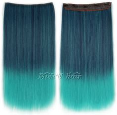 "24"" 110g-120g Gradient Color Long Straight Synthetic Clip In Hair Extensions Women Hairpieces Free Shipping"