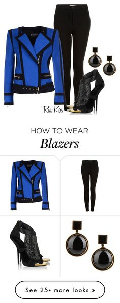 """balmain blazer"" by ria-kos on Polyvore featuring Topshop, Balmain, Giuseppe Zanotti, Marc by Marc Jacobs, women's clothing, women, female, woman, misses and juniors"