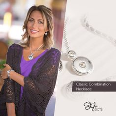 """The Classic Combo Necklace matches any outfit when you add your favorite Style Dots! Our Classic Combination Neckalce lets you create a beautiful set from your favorite 12mm and 30 mm statement dot. In our oh-so-chic deep silver finish, this necklace features a flat oval link chain that is 17"""" in length with a 3"""" extender. https://shanette.styledotshome.com/products/new-releases-statement-line/classic-combination-necklace"""