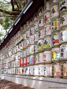 Barriles de sake en Santuario de Meiji Tokio, Japón
