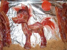 My Little Sizzling Bacon Pony is Cutely Delicious. Food Humor, Funny Food, It's Funny, Funny Memes, Pork Belly, Creative Food, Food Photo, My Little Pony, Love Food